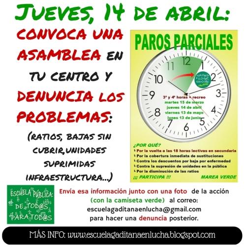 Este jueves, 14 de abril, hay convocatoria de PAROS PARCIALES para docentes. Te animamos a CONVOCAR UNA ASAMBLEA en tu centro... (2)